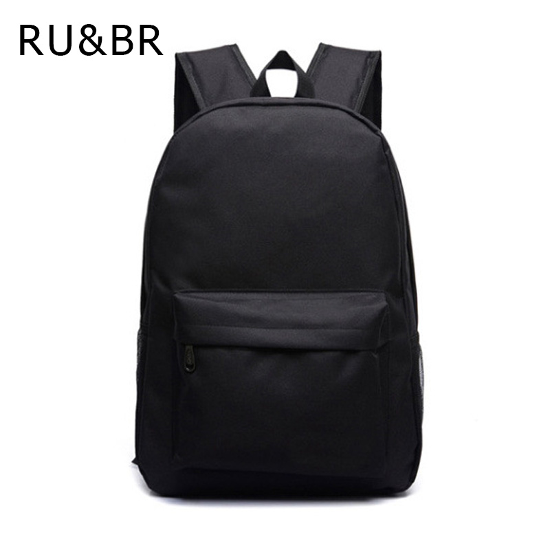 RU&BR New Korean Shoulders Bags Fashio Casual Solid Backpacks Male and Female Students Bags For Teenageers Travel Schoolbags wholesale ceramic travel tea sets ru pot two cups kit italics opening film ru new