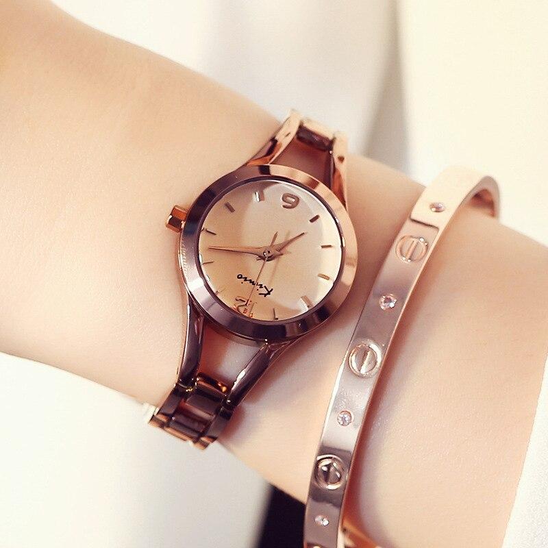 8f4e1e569a1 KIMIO Senhoras Simples Small Round Dial Esqueleto Ouro Rosa Pulseira de  Relógio de Quartzo Das Mulheres Relógios 2018 Marca de Topo Casuais Waches  Mulheres