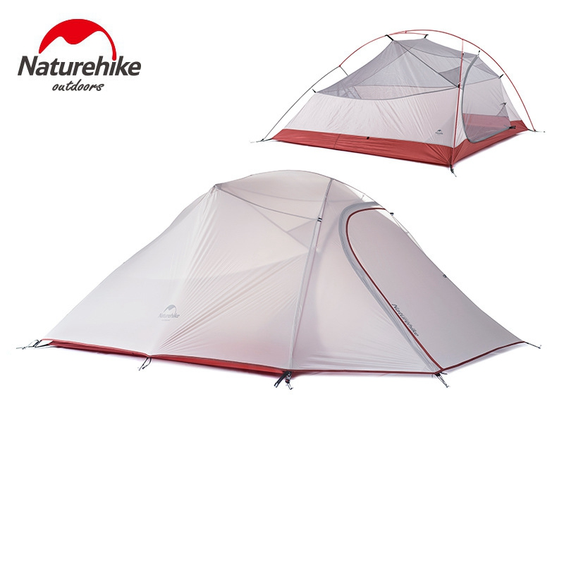 1.8KG Naturehike Tent 3 Person 20D Silicone Fabric Double Layers Rainproof Camping Tent NH Outdoor Tent 4Season naturehike tent camping tent ultralight 1 2 3 person man 4 season double layers aluminum rod outdoor travel beach tent with mat