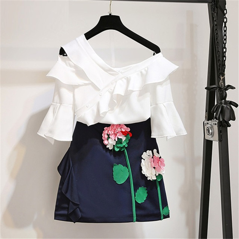 d381675874 limiguyue 2 piece set tracksuit women's sets sexy one shoulder white ruffles  chiffon tops flower embroidery