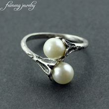 feimeng jewelry Adjustable Game of Thrones rings Daenerys Targaryen two Simulated Pearl White Ring For Women Charm Lovely gifts
