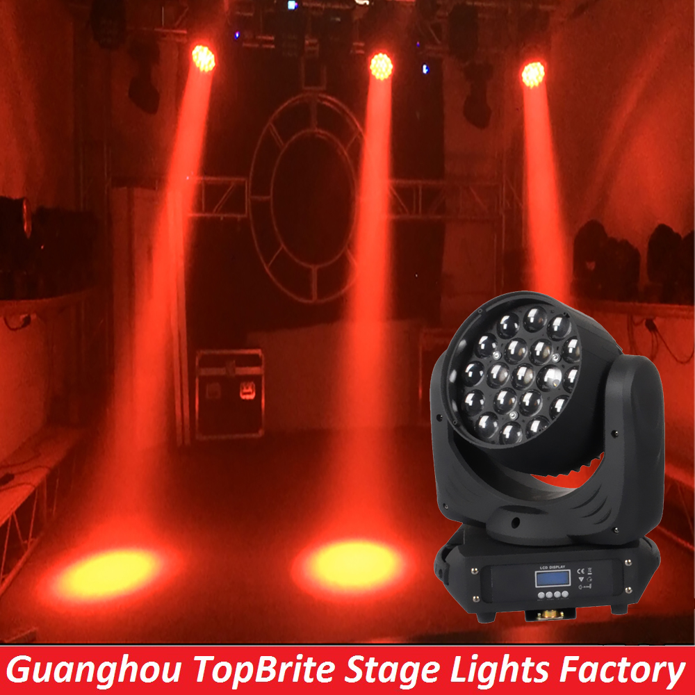 2016 NEW 19*12W 4IN1 LED Beam  Moving Head Light DMX512 High Quality Zoom 16 CHs RGBW Professional Stage Lighting Projector