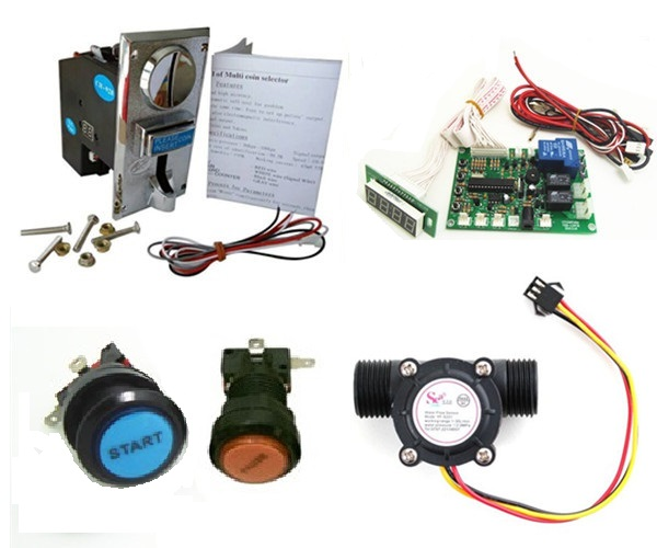 ФОТО 1 kit for water vending machine volume control with JY926 multi coin acceptor button start and pause acceptor multi coins