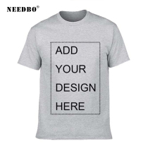 NEEDBO T Shirt Men Summer Casual Cotton 100%  T-shirt Customized t shirt Logo Printing DIY Your Own Design Top Tshirt