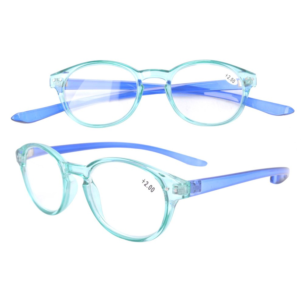 FR005 Green+Blue Unique Long Arms Around the Neck Quality Fashion Readers Reading Glasses  +1.00/1.50/3.00