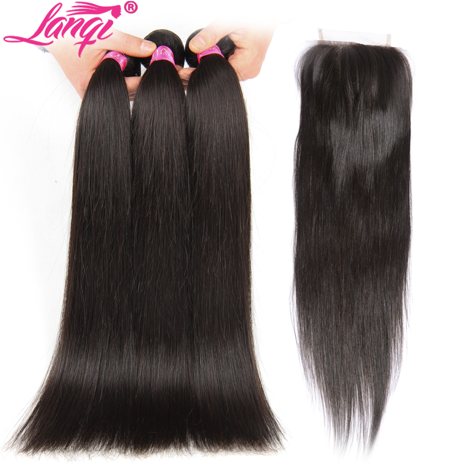 LanQi Peruvian Straight Hair Unprocesse Human Hair Weave With Closure Natural Color Non Remy Hair Weaving