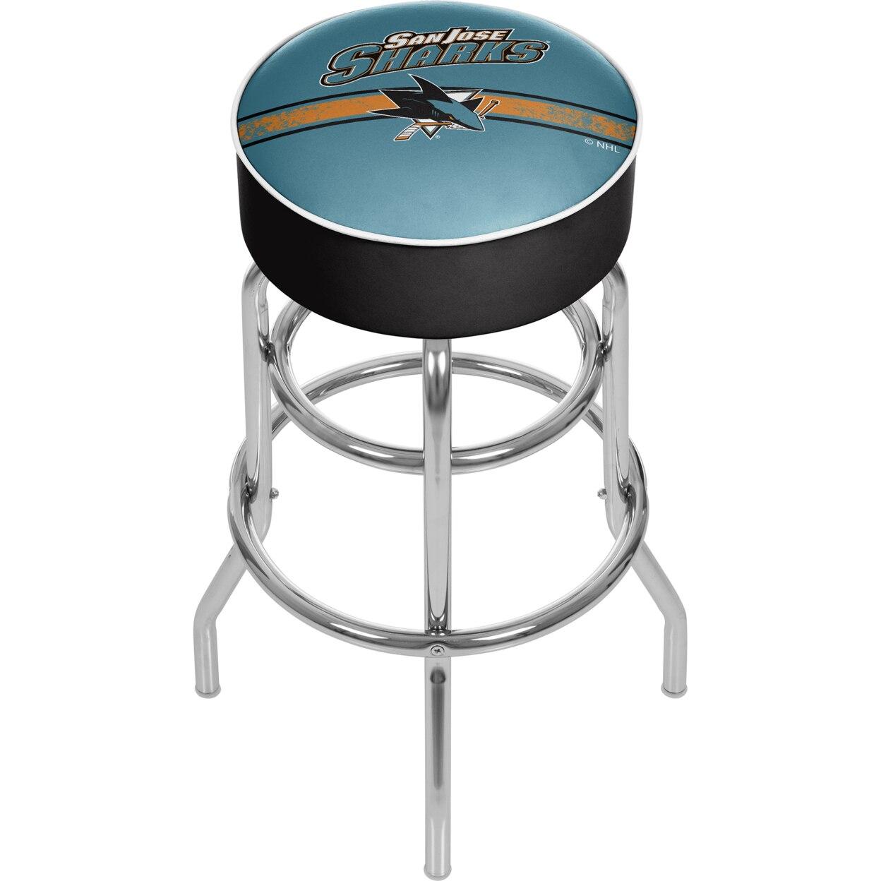 NHL Chrome Padded Swivel Bar Stool 30 Inches High - San Jose Sharks толстовка wearcraft premium унисекс printio san jose sharks nhl usa