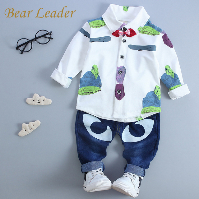 Bear Leader Baby Clothing Sets 2016 Autumn Baby Boy Clothes Long Sleeve Tie Print shirt+Jeans 2Pc Children Clothing Baby Clothes