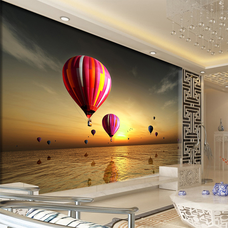 Custom 3D Hot Air Balloon Flying In The Sky Ocean Sunset Wall Mural Wallpaper Living Room Landscape Sofa Backdrop Wall Papers custom baby wallpaper snow white and the seven dwarfs bedroom for the children s room mural backdrop stereoscopic 3d