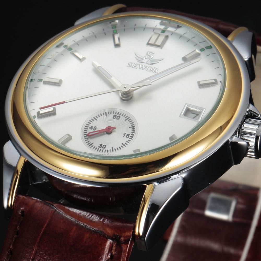 Prix pour Casual sewor marque design de mode de luxe homme d'affaires en cuir squelette automatique mécanique hommes montre-bracelet militaire cadeau horloge