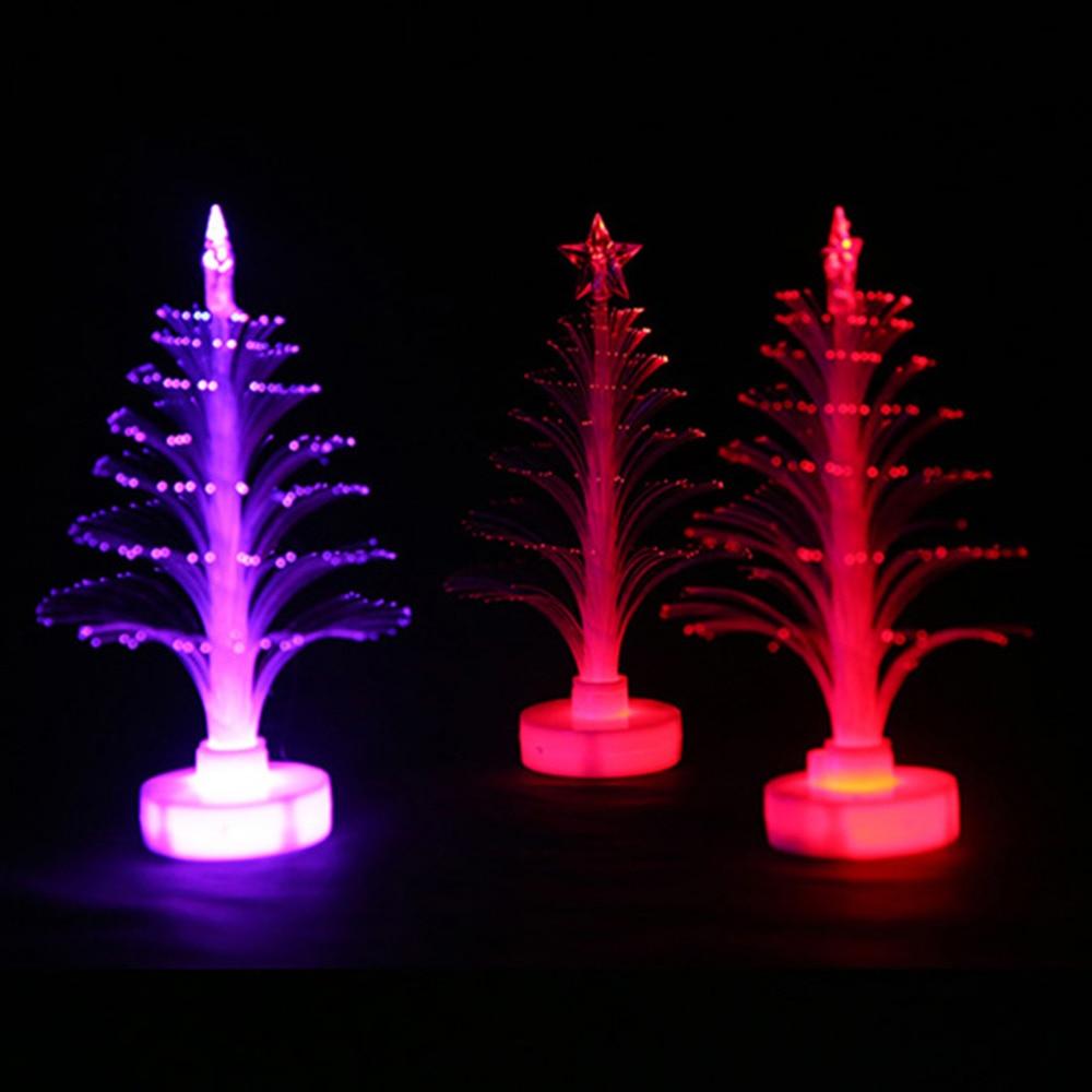 Fibre optic christmas flowers and xmas flowers - 12cm Christmas Tree Fiber Optic Night Light Colorful Lamp Emitting Flowers Three Dimensional Xmas Party