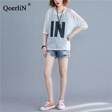 QoerliN 2 Piece Vest+Mesh Tops T-Shirts Women Summer Sexy Transparent Short Sleeve Letter Tees Shirts Female Casual Street Wear