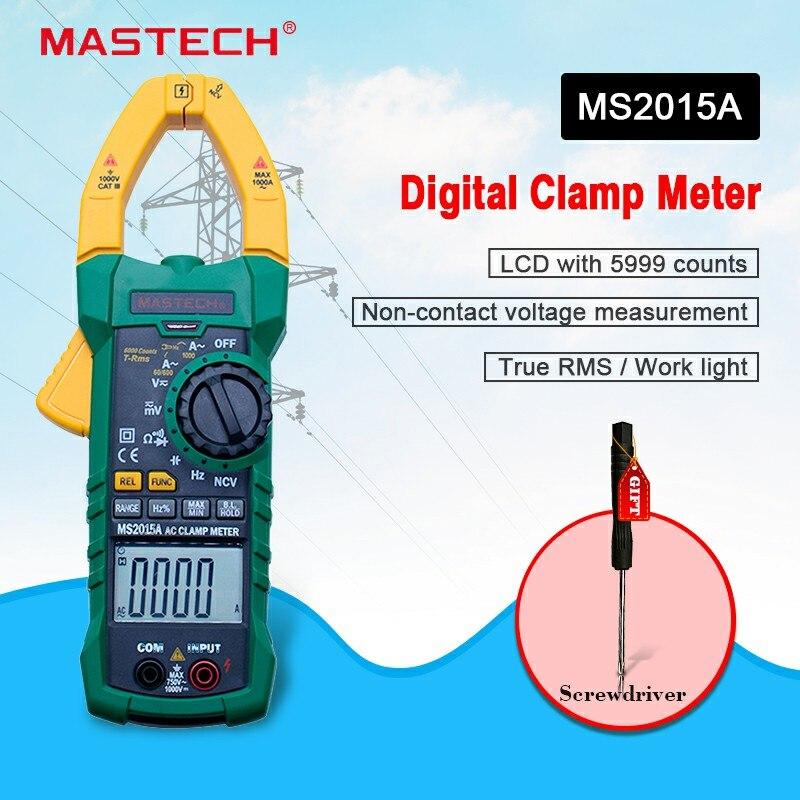 Numérique Pince Multimètre MASTECH MS2015A Auto gamme Multimètre AC 1000A Tension Courant Fréquence pince Multimètre Testeur Rétro-Éclairage