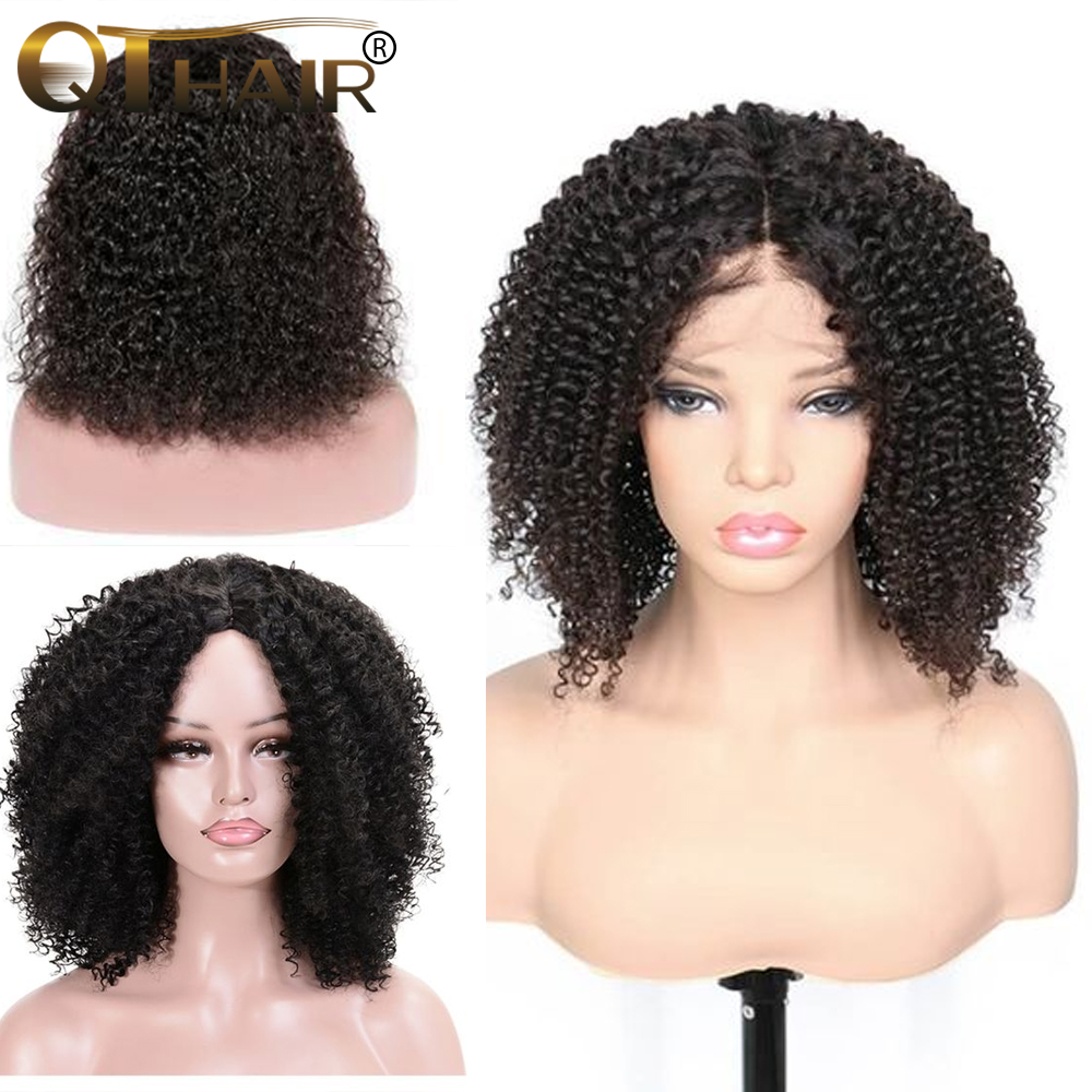 Curly Lace Front Human Hair Wigs For Black Women Pre Plucked With 4x4 Frontal Baby Hair Remy Brazilian Hair Short Bob Wig