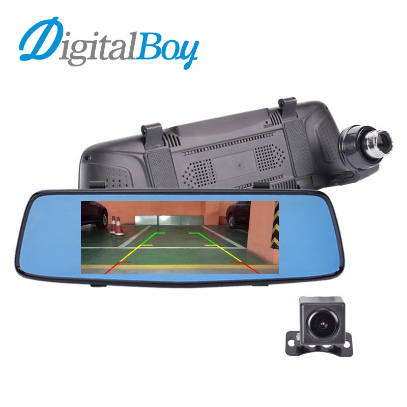 Digitalboy Car Dvr Rearview Mirror Camera 7 IPS Super Night Vision Dual Lens LDWS ADAS Parking Dash cam Full HD 1080p Camcordar