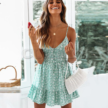 купить Cuerly Sexy floral print short ruffle sundress women Summer elegant party beach boho dress Casual button strap dress vestidos L5 по цене 1693.98 рублей
