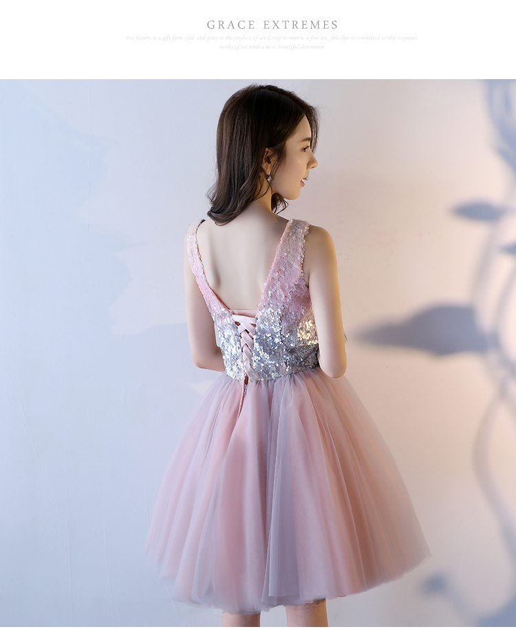Pink A-Line Sequined Knee-Length Princess Bridesmaid Dress 5