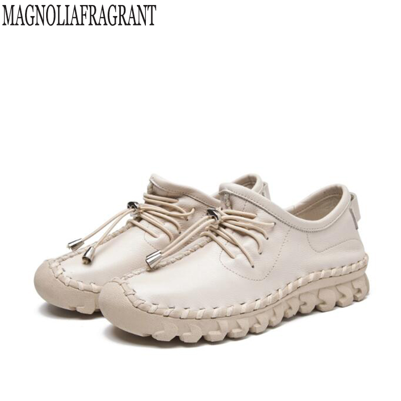Women s Handmade Shoes Genuine Leather Flat Lacing Mother Shoes Woman Loafers Soft Single Flats Casual