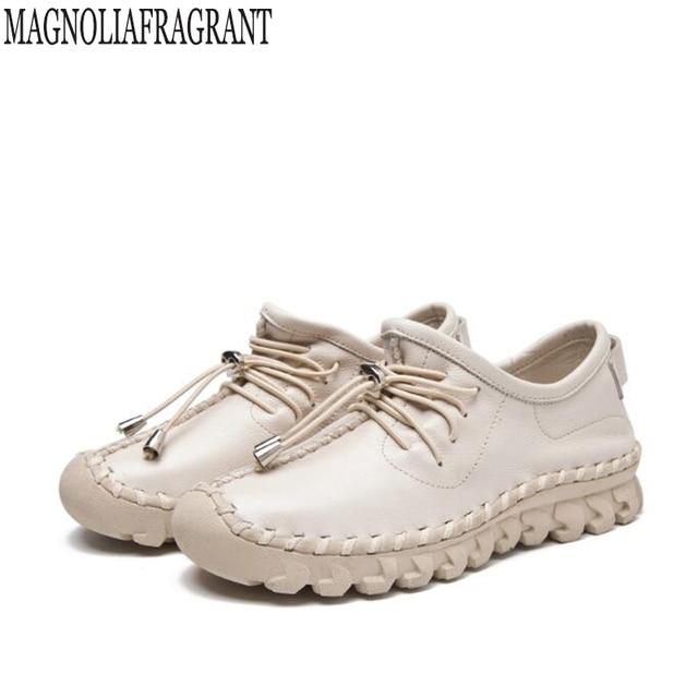 Hecho a mano de las mujeres Zapatos Cuero auténtico cordón plana madre Zapatos mujer Mocasines solo suave casual Zapatos mujeres k455