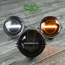 6.5inch universal Retro motorcycle modification LED headlamp line driving light yellow white GN125 250 with guard