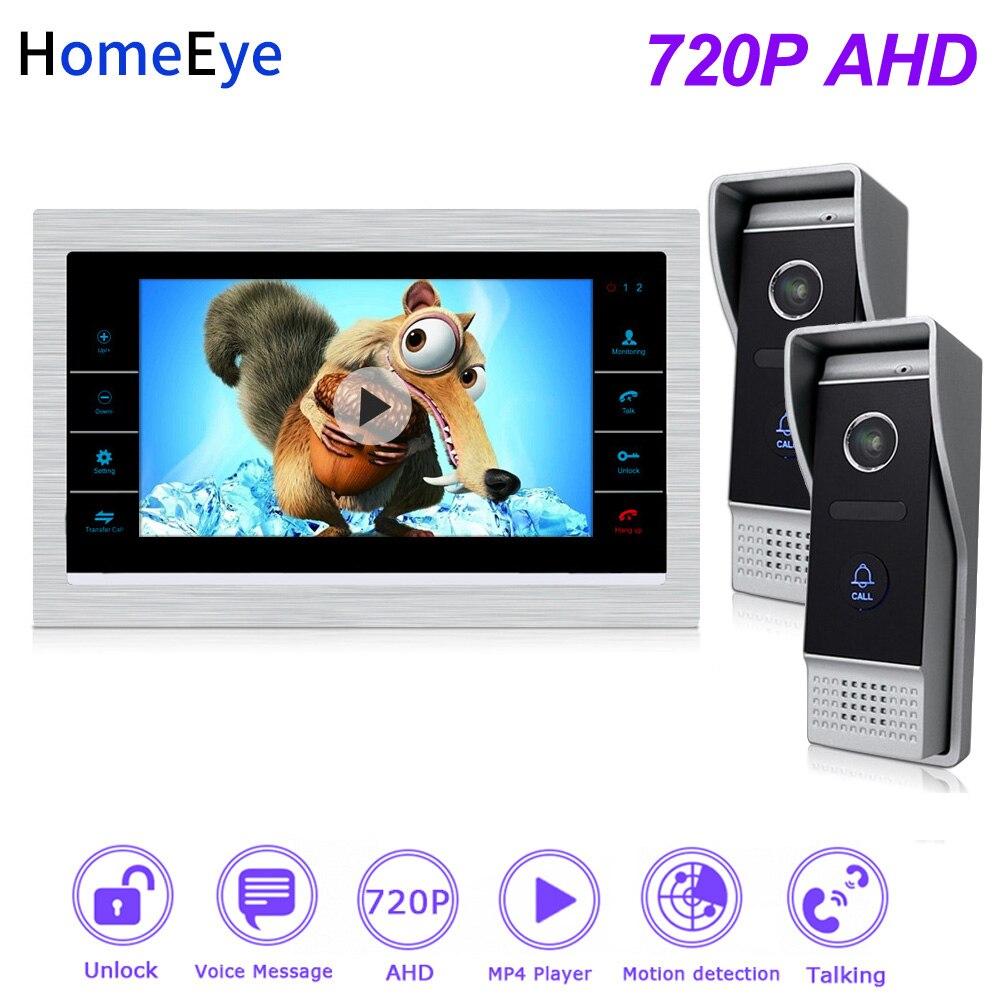HomeEye 720P HD Video Door Phone Video Intercom 2 Doors Building Access Control System 7''Touch Screen Voice Message PIR Alarm