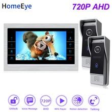 купить HomeEye 720P HD Video Door Phone Video Intercom 2 Doors Building Access Control System 7''Touch Screen Voice Message PIR Alarm по цене 11481.98 рублей