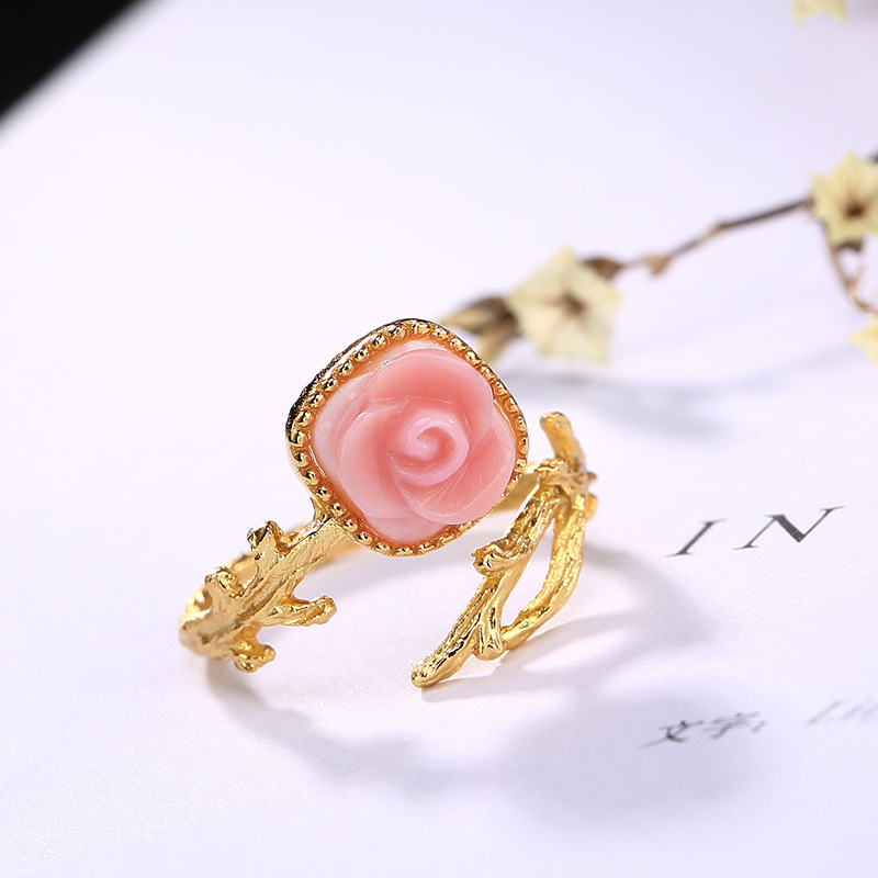 2018 New S925 pure silver queen shell rings For Women Fashion Gloden color rose Flower Adjustable Fine Jewelry For Birthday gift