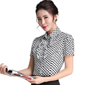 Polka Dot Shirt Black and White Ruffles Blouse Casual Style New Fashion Short Sleeve Top Women Summer Wear