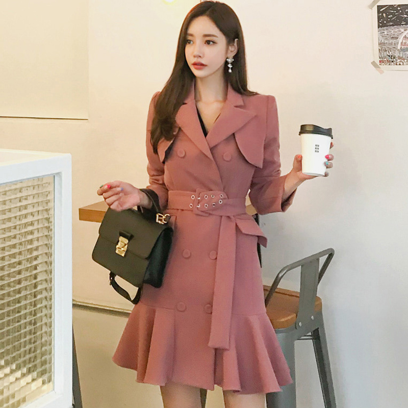 Elegant Ruffle Double Breasted Women Dress Casual Sashes Notched Blazer Dress 2018 Autumn Winter Slim Suit