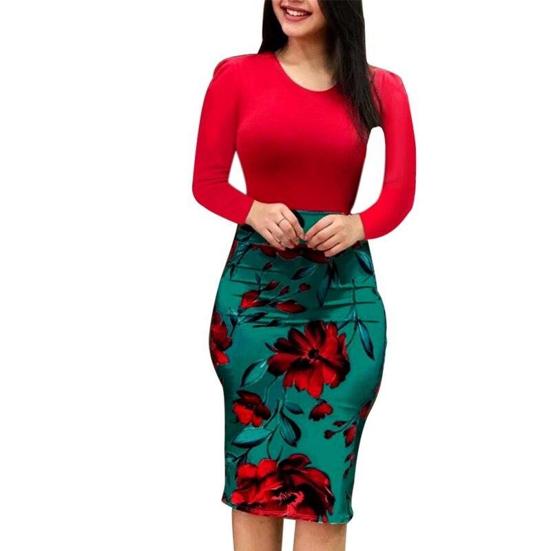 Элегантный Для женщин 2019 осеннее платье большого размера пикантные цветочные платья карандаш с длинным рукавом Вечеринка обтягивающее пла...