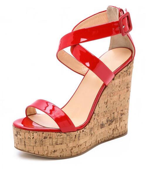 Newest Red Patent Leather Platform Wedge Sandal Woman Open Toe Cross-strap Summer Shoe 2018 Cutouts Gladiator Sandal women flat pom pom decor flat sandal crystal butterfly knot summer shoe cutouts sandal mixed color fur gladiator sandal