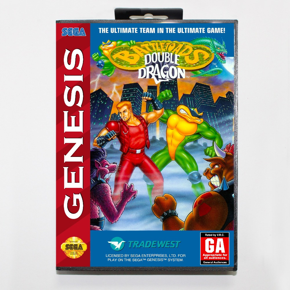 Battletoads And Double Dragon The Ultimate Team 16 bit MD card with Retail box for Sega MegaDrive Video Game console system