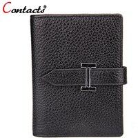 CONTACT S Genuine Leather Short Women Card Holder Multiple Colour Korean Casual Mini Card Bag Famous