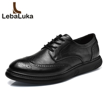 LebaLuka Size 38-46 Men Real Leather Casual Shoes Breathable Lace Up Classics Brogue Shoes Fashion Daily Leisure Male Footwear