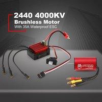 SURPASSHOBBY KK 2440 4000KV Brushless Motor with 35A Waterproof Speed Controler ESC for 2S 1:16 1:18 RC Racing Car Model