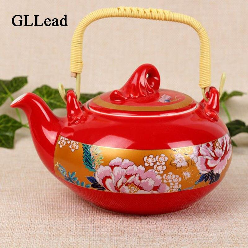 GLLead Chinese Style Qırmızı Peion Rəngli Seramik Qəhvəyi Çay - Mətbəx, yemək otağı və barı - Fotoqrafiya 1
