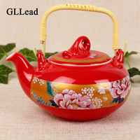 GLLead Chinese Style Red Peony Color Ceramic Coffeepot Tea Pot Home Fashion Tea And Blacktea Tots Creative Drinkware