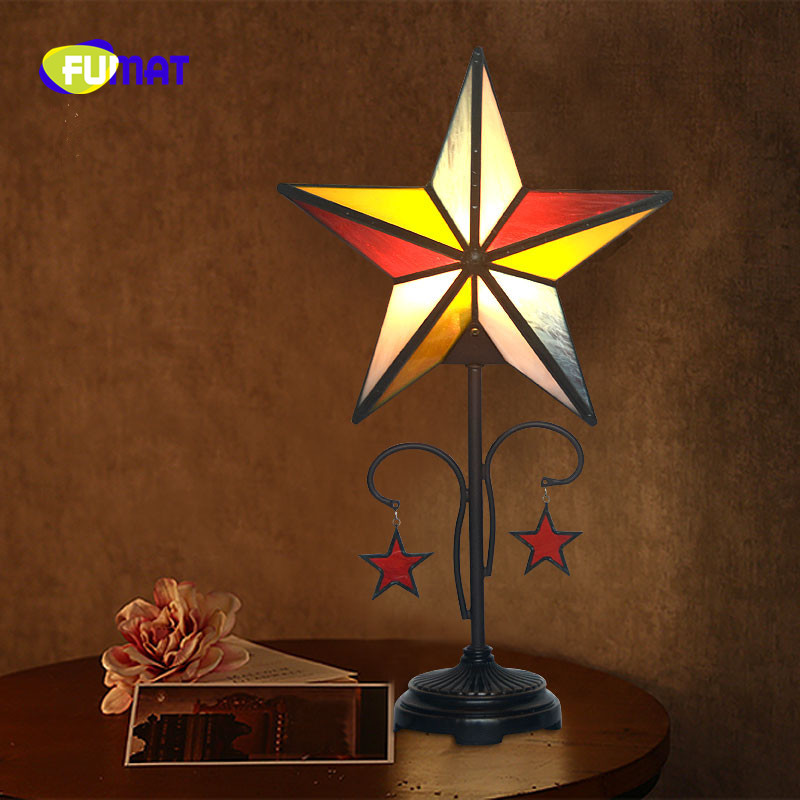 FUMAT Stained Glass Shade Table Lamp LED E27 Star Bedroom Bedside Lamps Home Art Deco Marriage Lights Children luminaria Light|LED Table Lamps| |  - title=