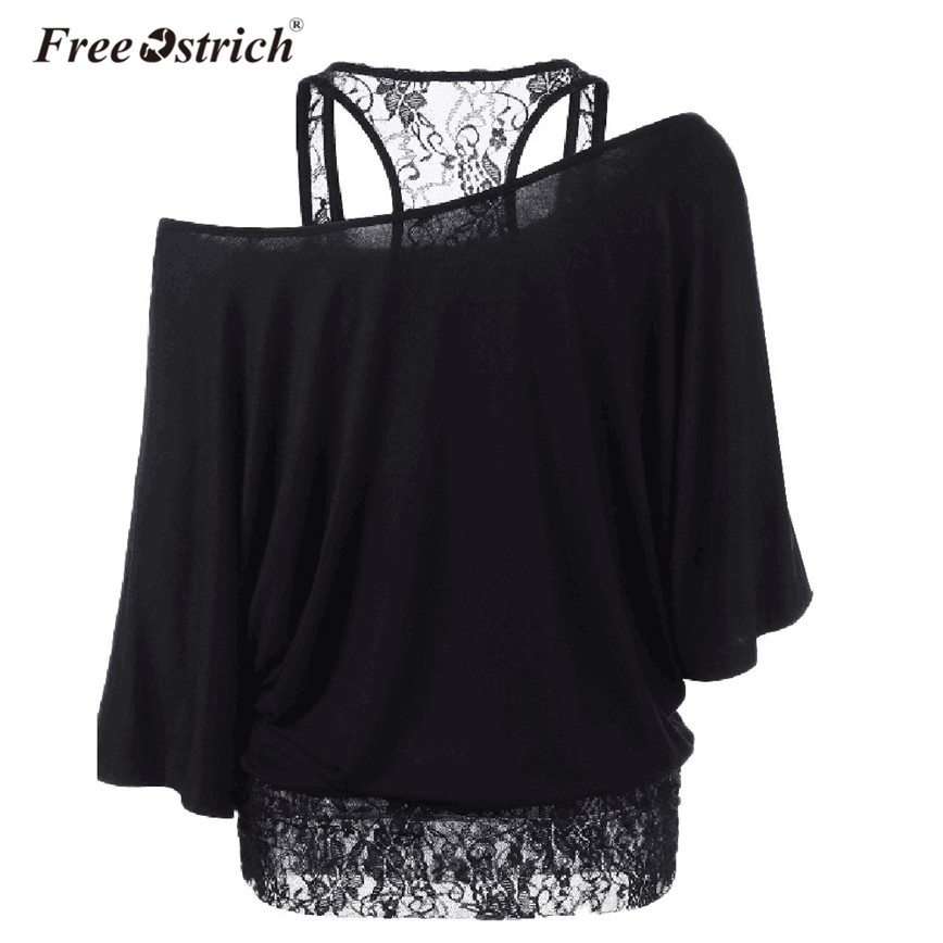 Free Ostrich Blouse Women 2018 Summer Off Shoulder Lace Spliced Loose Shirt Short Sleeve Solid Women Tops Blusas Mujer A1930