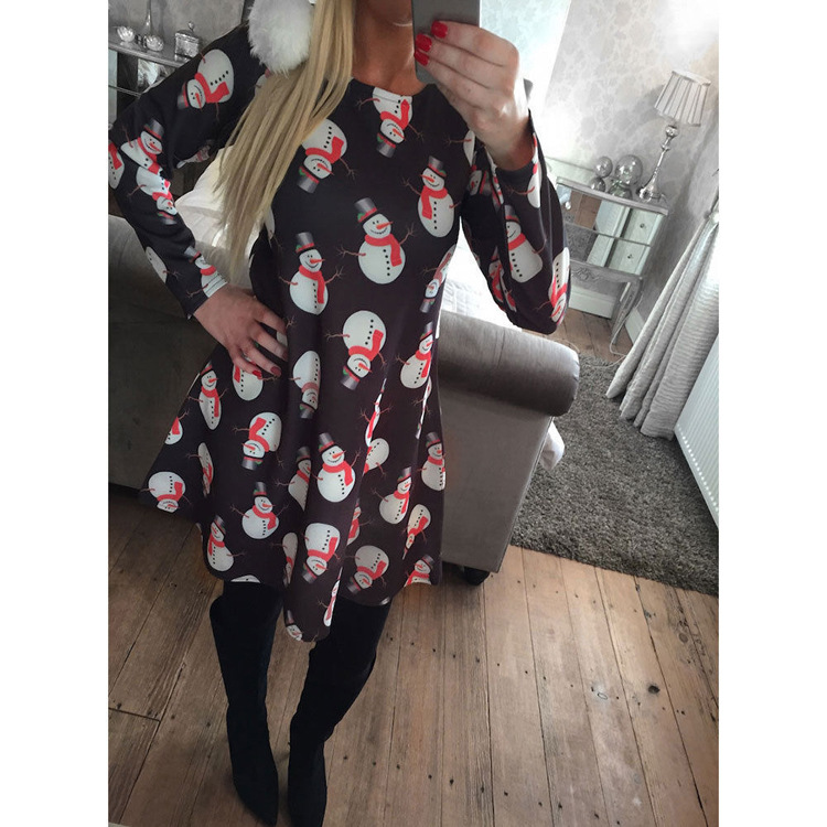 d23d9837897 Christmas Party Dress Red Black Plus Size Long Sleeve women clothing  Snowman Printed vestiti donna moda praia roupas femininas