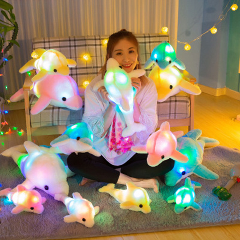 Hot 32cm Cute Creative Luminous Plush Toy Dolphin Doll Glowing LED Light Animal Toys Colorful Doll Pillow Children's Lovely Gift creative led light pillow cushion night light cute glowing dolphin stuffed luminous plush doll toy girl birthday kids gift