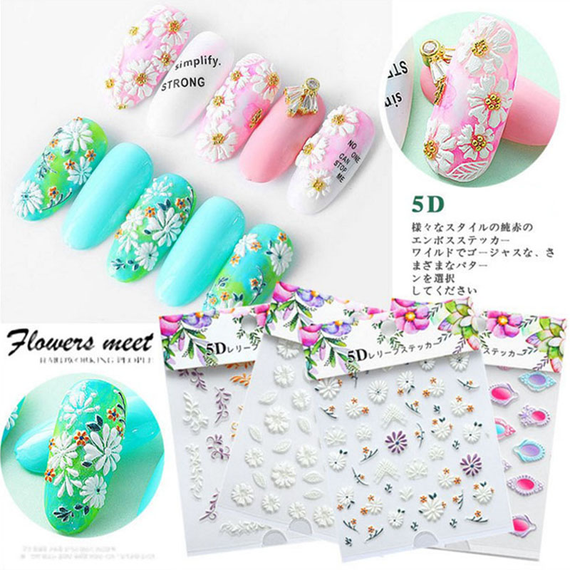 12 style Nail decoration Flower Series Butterfly 5D Self Adhesive Embossed Nail Stickers Acrylic Engraved Nail Water Decals DIY