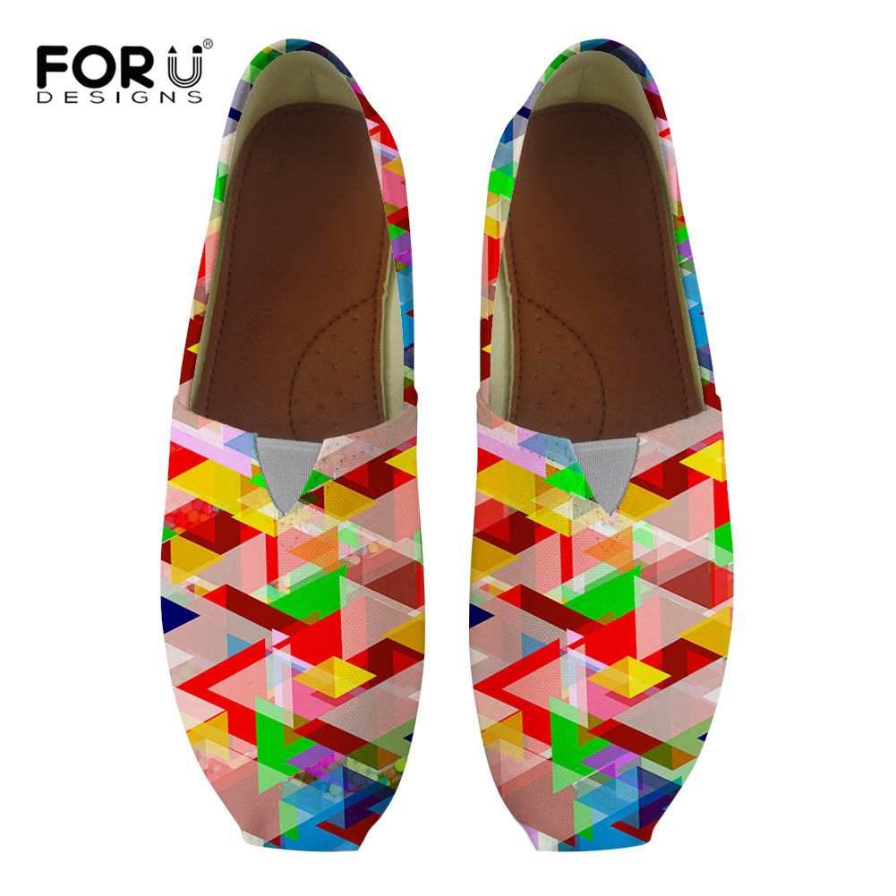 FORUDESIGNS Geometric Printing 2018 Summer Women Canvas Flats Cloth Slip On Casual Shoes Woman Heels Loafers Comfortable Sandals