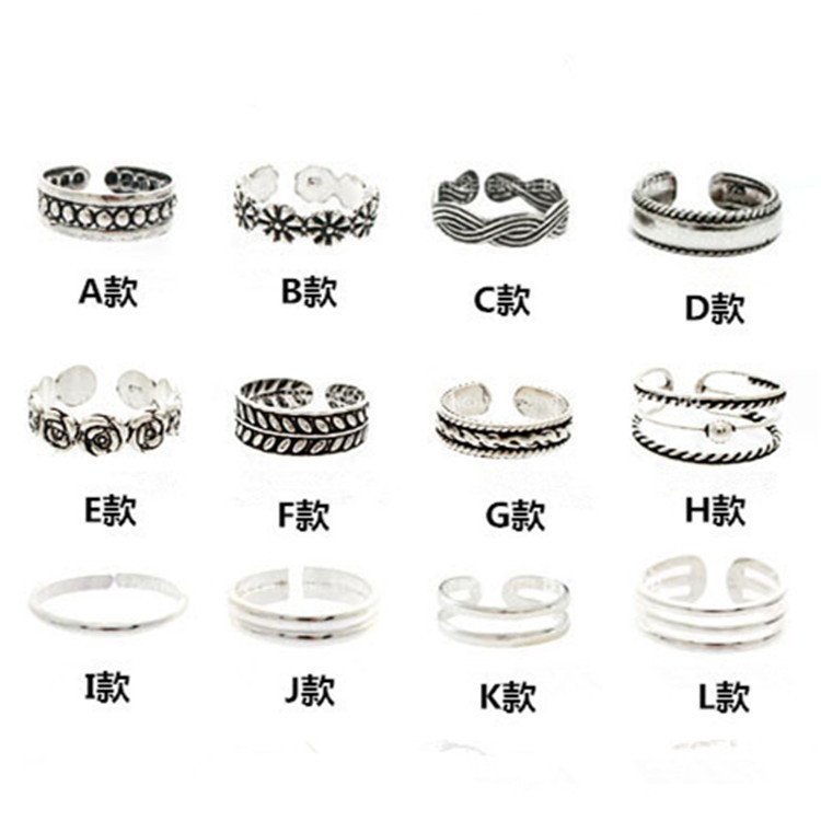 Free Shipping 11 Types Silver Plated Fashion Finger Rings Trendy ...