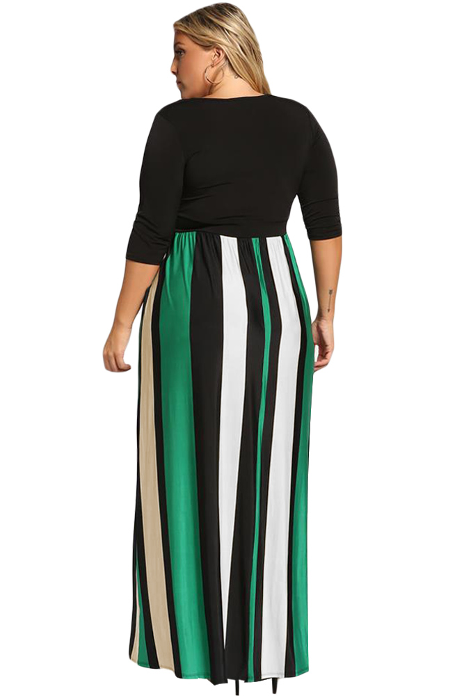Green-Color-Blocked-Skirt-Plus-Size-Maxi-Dress-LC610502-9-2