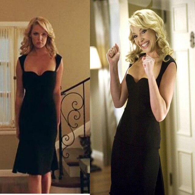 Simple Cheap Inspired Katherine Heigl Black Celebrity Sexy Dress Movie The Ugly Truth A Line