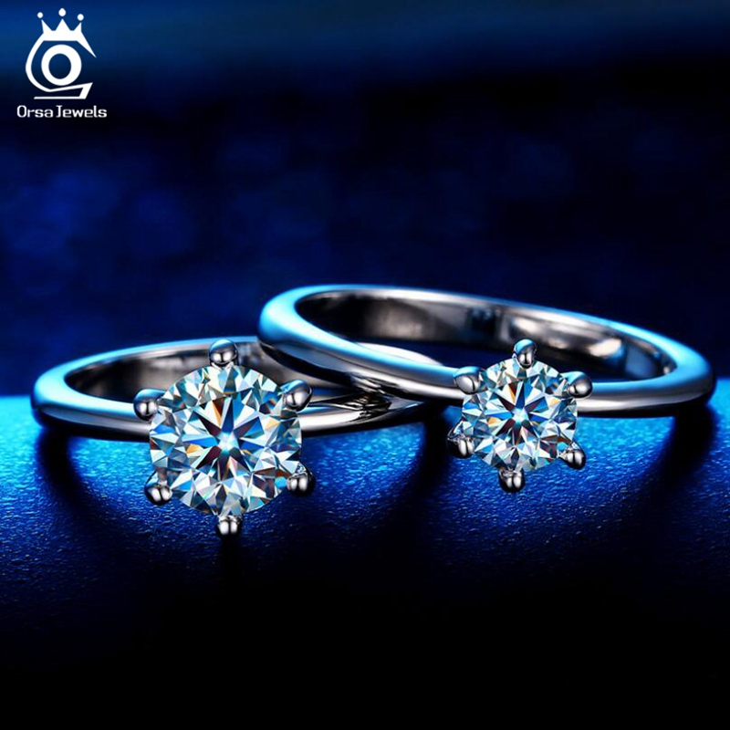 Image 2 - ORSA JEWELS Real 925 Sterling Silver Women Solitaire Rings Cubic Zircon Female Wedding Ring Fashion Jewelry For Any Party SR116-in Rings from Jewelry & Accessories