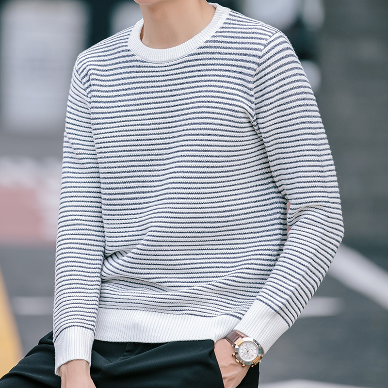 Autumn Fashion Men's Stripes Sweater Sleeve Head Sweater Knit Sweater Young Male Character
