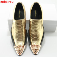 Zobairou Slip On Business Men S Flats British Style Genuine Leather Metal Toe Gold Shoes Quality