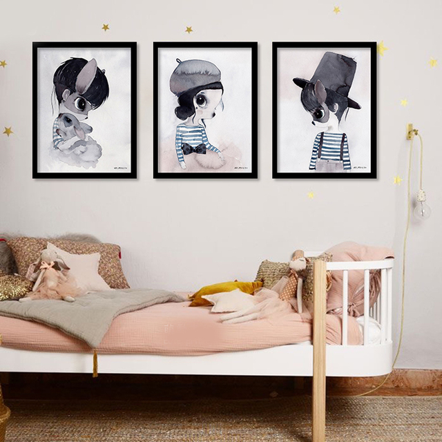Rabbit Girl Wall Art Canvas Painting Nordic Poater Posters And Prints Art  Print Wall Pictures For
